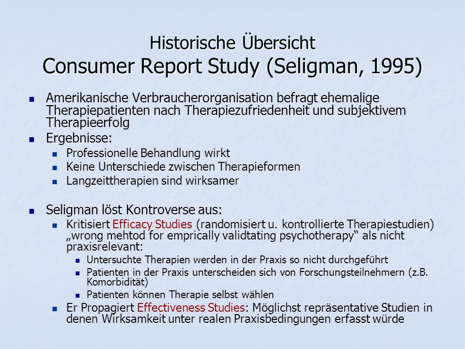 Historische Übersicht Consumer Report Study (Seligman, 1995) Amerikanische Verbraucherorganisation befragt ehemalige Therapiepatienten nach Therapiezu