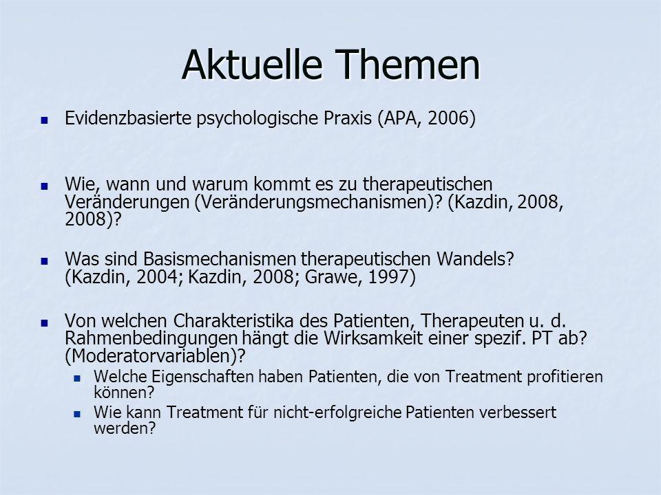 Aktuelle Themen Evidenzbasierte psychologische Praxis (APA, 2006) Wie, wann und warum kommt es zu therapeutischen Veränderungen (Veränderungsmechanismen).