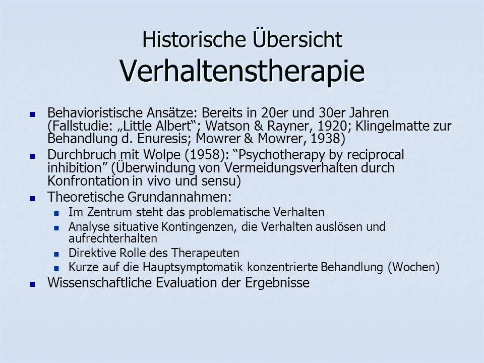 """Historische Übersicht Verhaltenstherapie Behavioristische Ansätze: Bereits in 20er und 30er Jahren (Fallstudie: """"Little Albert ; Watson & Rayner, 1920; Klingelmatte zur Behandlung d."""