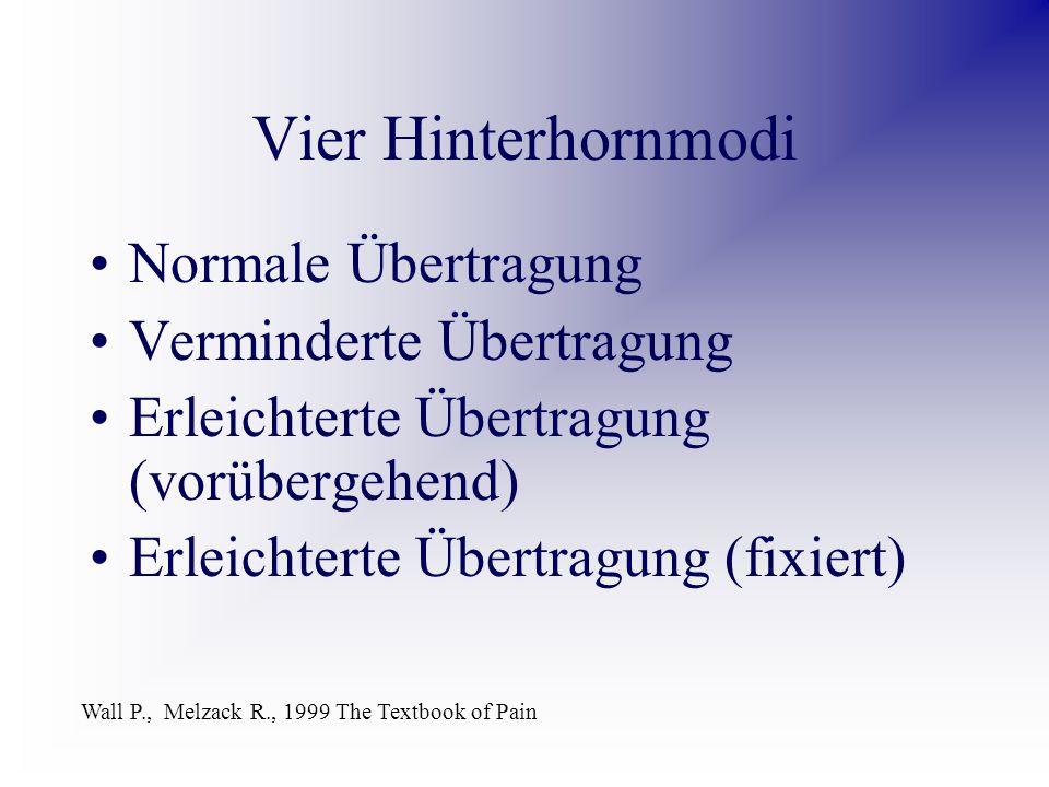 Vier Hinterhornmodi Normale Übertragung Verminderte Übertragung Erleichterte Übertragung (vorübergehend) Erleichterte Übertragung (fixiert) Wall P., Melzack R., 1999 The Textbook of Pain