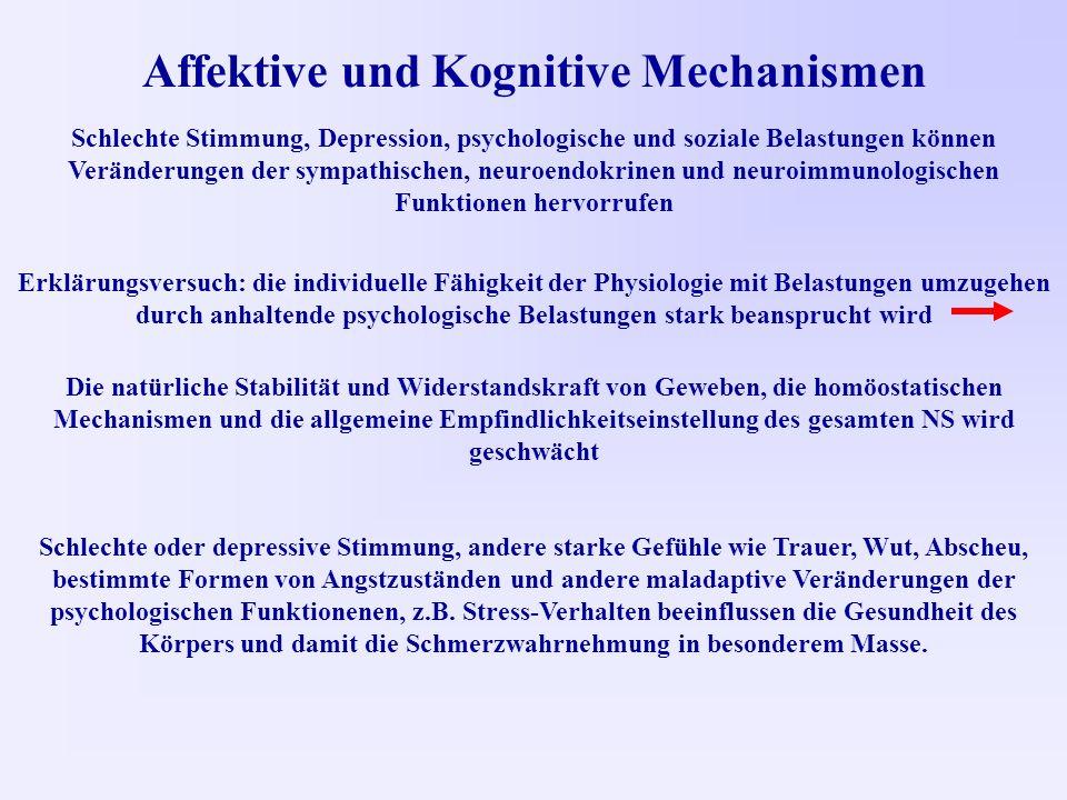 Affektive und Kognitive Mechanismen Schlechte Stimmung, Depression, psychologische und soziale Belastungen können Veränderungen der sympathischen, neuroendokrinen und neuroimmunologischen Funktionen hervorrufen Erklärungsversuch: die individuelle Fähigkeit der Physiologie mit Belastungen umzugehen durch anhaltende psychologische Belastungen stark beansprucht wird Die natürliche Stabilität und Widerstandskraft von Geweben, die homöostatischen Mechanismen und die allgemeine Empfindlichkeitseinstellung des gesamten NS wird geschwächt Schlechte oder depressive Stimmung, andere starke Gefühle wie Trauer, Wut, Abscheu, bestimmte Formen von Angstzuständen und andere maladaptive Veränderungen der psychologischen Funktionenen, z.B.