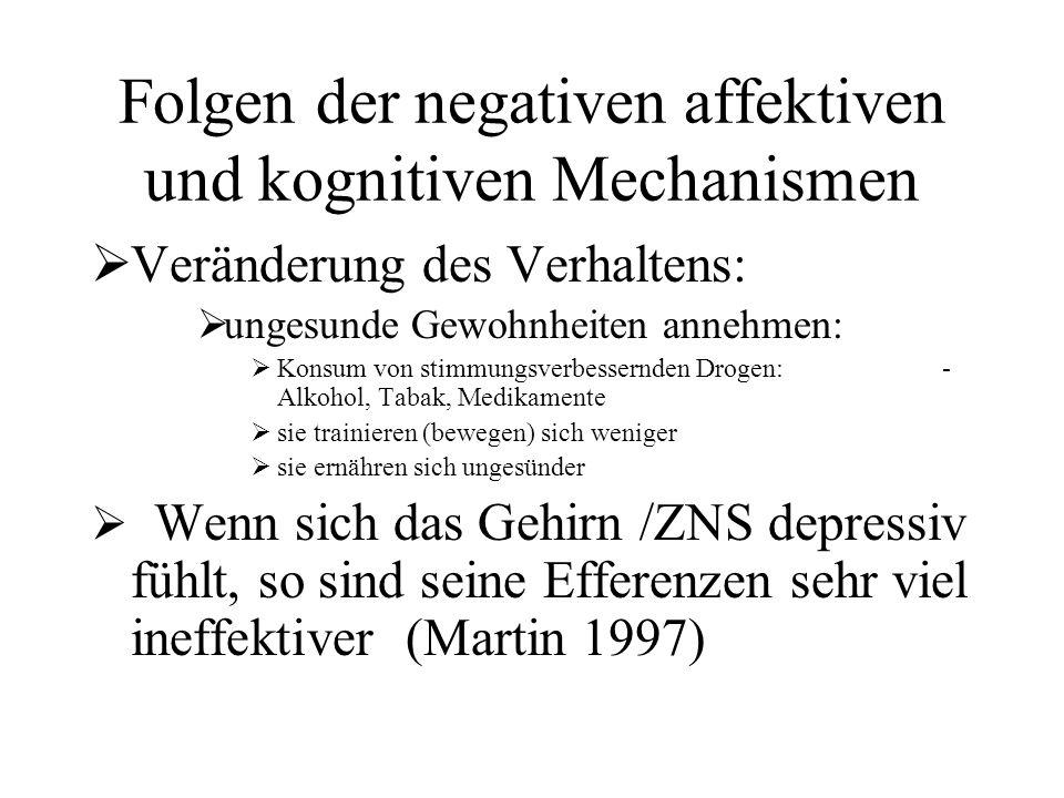 Folgen der negativen affektiven und kognitiven Mechanismen  Veränderung des Verhaltens:  ungesunde Gewohnheiten annehmen:  Konsum von stimmungsverbessernden Drogen: - Alkohol, Tabak, Medikamente  sie trainieren (bewegen) sich weniger  sie ernähren sich ungesünder  Wenn sich das Gehirn /ZNS depressiv fühlt, so sind seine Efferenzen sehr viel ineffektiver (Martin 1997)