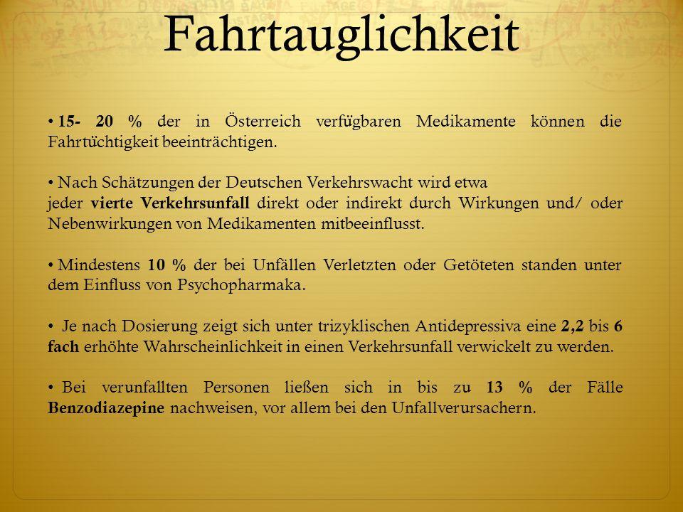 15- 20 % der in Österreich verfu ̈ gbaren Medikamente können die Fahrtu ̈ chtigkeit beeinträchtigen. Nach Schätzungen der Deutschen Verkehrswacht wird