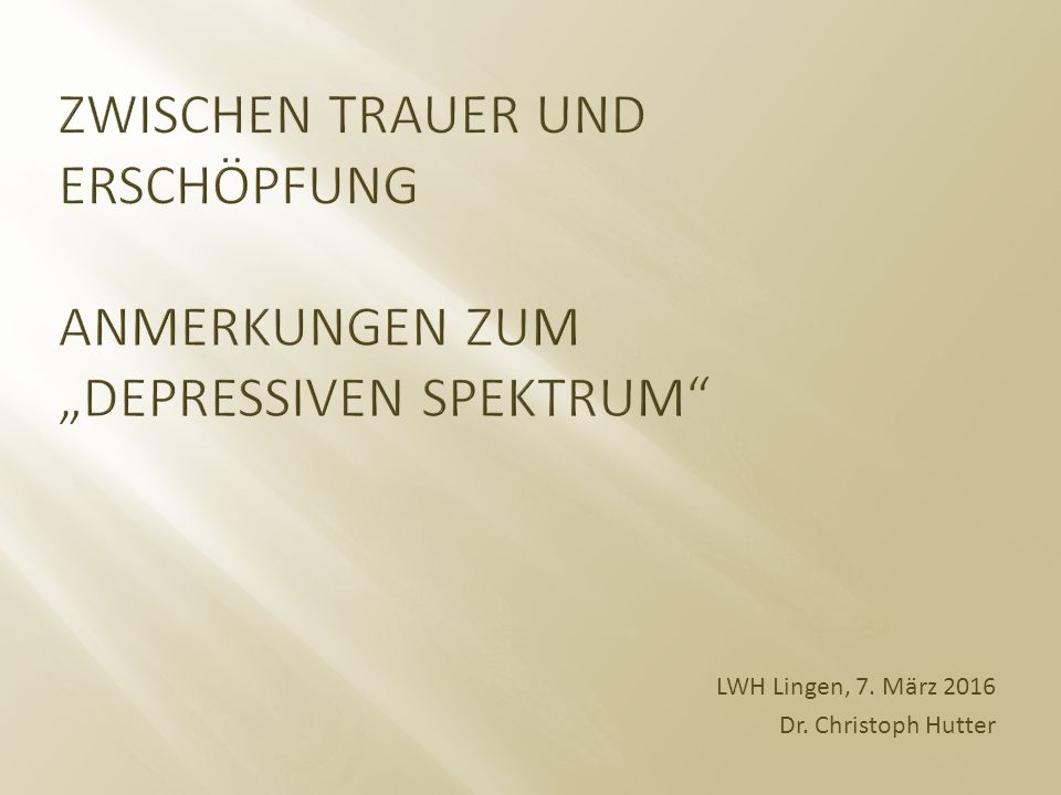 LWH Lingen, 7. März 2016 Dr. Christoph Hutter