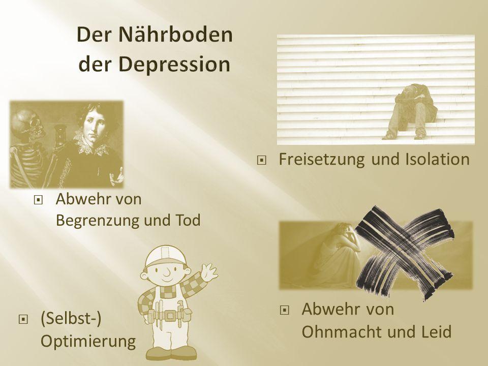  Freisetzung und Isolation  Abwehr von Ohnmacht und Leid  (Selbst-) Optimierung  Abwehr von Begrenzung und Tod