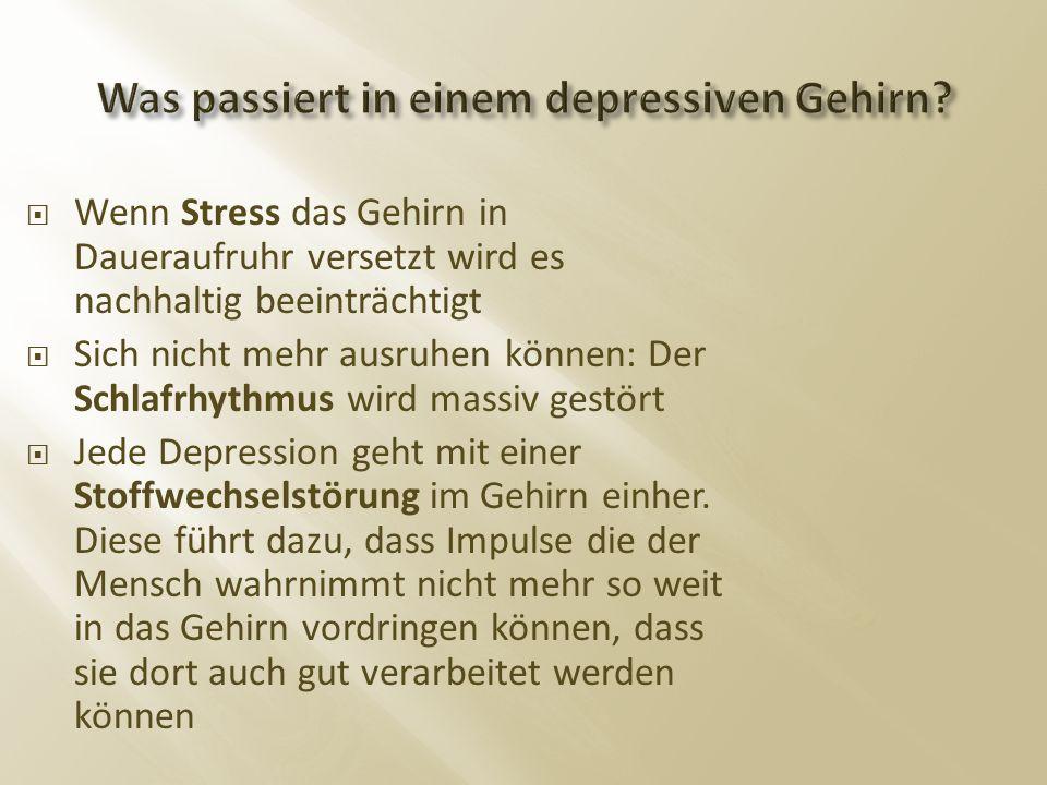 Wenn Stress das Gehirn in Daueraufruhr versetzt wird es nachhaltig beeinträchtigt  Sich nicht mehr ausruhen können: Der Schlafrhythmus wird massiv gestört  Jede Depression geht mit einer Stoffwechselstörung im Gehirn einher.