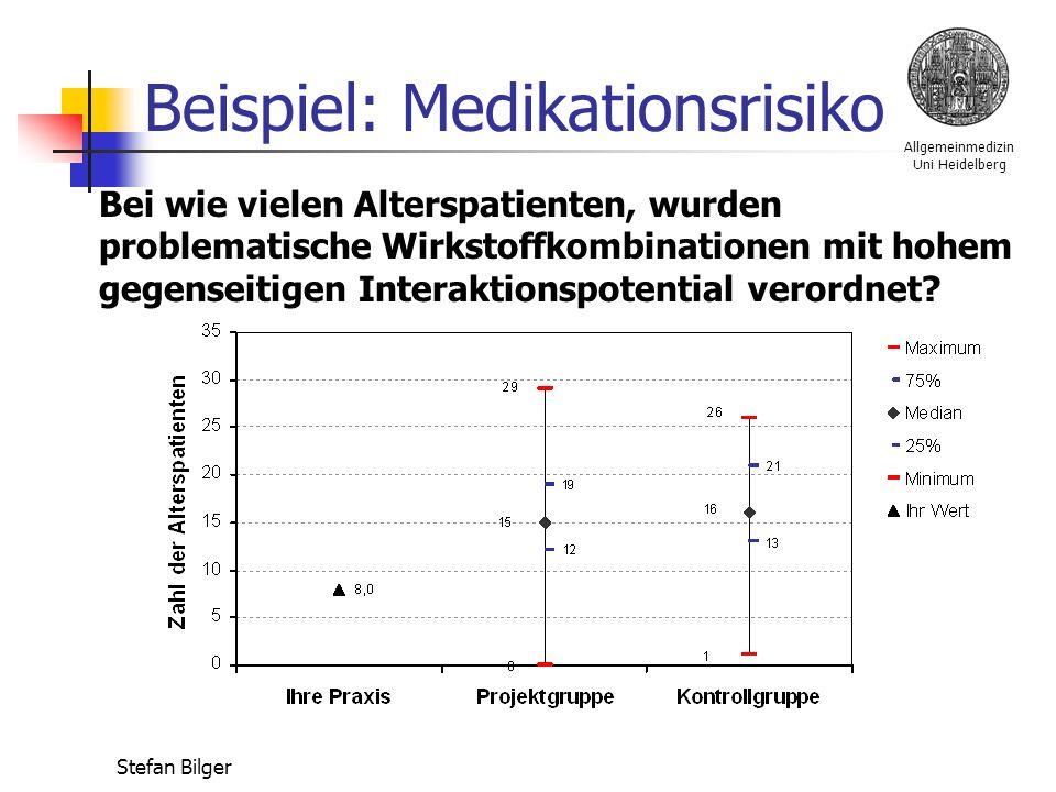 Allgemeinmedizin Uni Heidelberg Stefan Bilger Beispiel: Medikationsrisiko Bei wie vielen Alterspatienten, wurden problematische Wirkstoffkombinationen mit hohem gegenseitigen Interaktionspotential verordnet