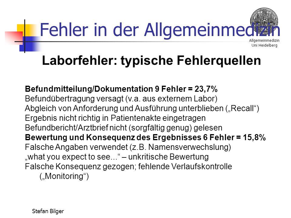 Allgemeinmedizin Uni Heidelberg Stefan Bilger Fehler in der Allgemeinmedizin Laborfehler: typische Fehlerquellen Befundmitteilung/Dokumentation 9 Fehler = 23,7% Befundübertragung versagt (v.a.