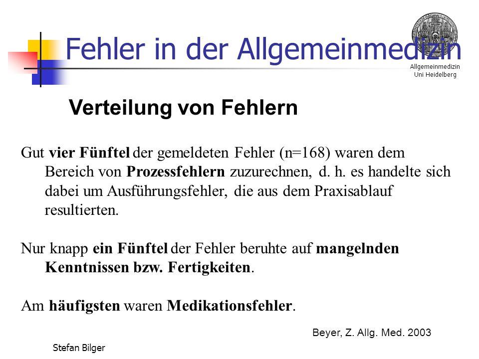 Allgemeinmedizin Uni Heidelberg Stefan Bilger Fehler in der Allgemeinmedizin Verteilung von Fehlern Gut vier Fünftel der gemeldeten Fehler (n=168) waren dem Bereich von Prozessfehlern zuzurechnen, d.