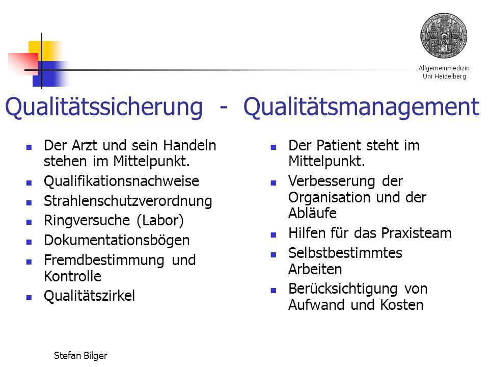 Allgemeinmedizin Uni Heidelberg Stefan Bilger Qualitätssicherung - Qualitätsmanagement Der Arzt und sein Handeln stehen im Mittelpunkt.