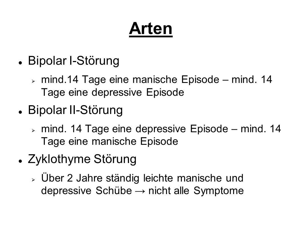 Arten Bipolar I-Störung  mind.14 Tage eine manische Episode – mind.