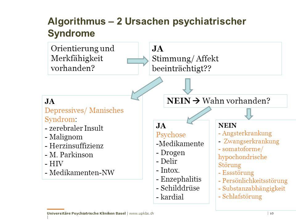 Universitäre Psychiatrische Kliniken Basel | www.upkbs.ch | | 10 Orientierung und Merkfähigkeit vorhanden? JA Stimmung/ Affekt beeinträchtigt?? JA Dep