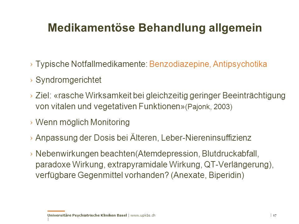 Medikamentöse Behandlung allgemein › Typische Notfallmedikamente: Benzodiazepine, Antipsychotika › Syndromgerichtet › Ziel: «rasche Wirksamkeit bei gl