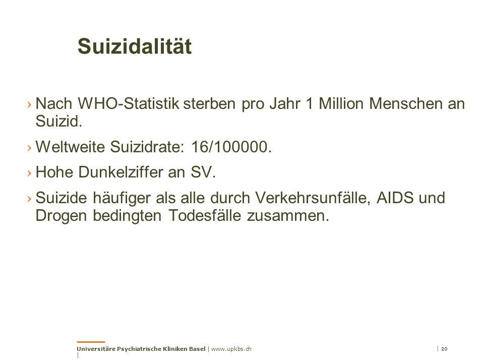 Suizidalität › Nach WHO-Statistik sterben pro Jahr 1 Million Menschen an Suizid. › Weltweite Suizidrate: 16/100000. › Hohe Dunkelziffer an SV. › Suizi
