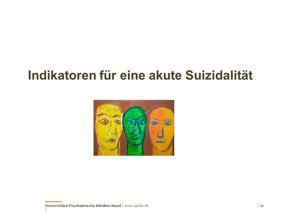 Indikatoren für eine akute Suizidalität | 22Universitäre Psychiatrische Kliniken Basel | www.upkbs.ch |