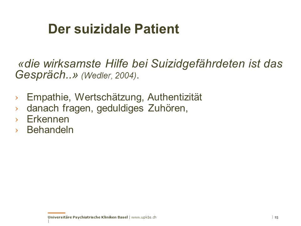 Der suizidale Patient «die wirksamste Hilfe bei Suizidgefährdeten ist das Gespräch..» (Wedler, 2004).