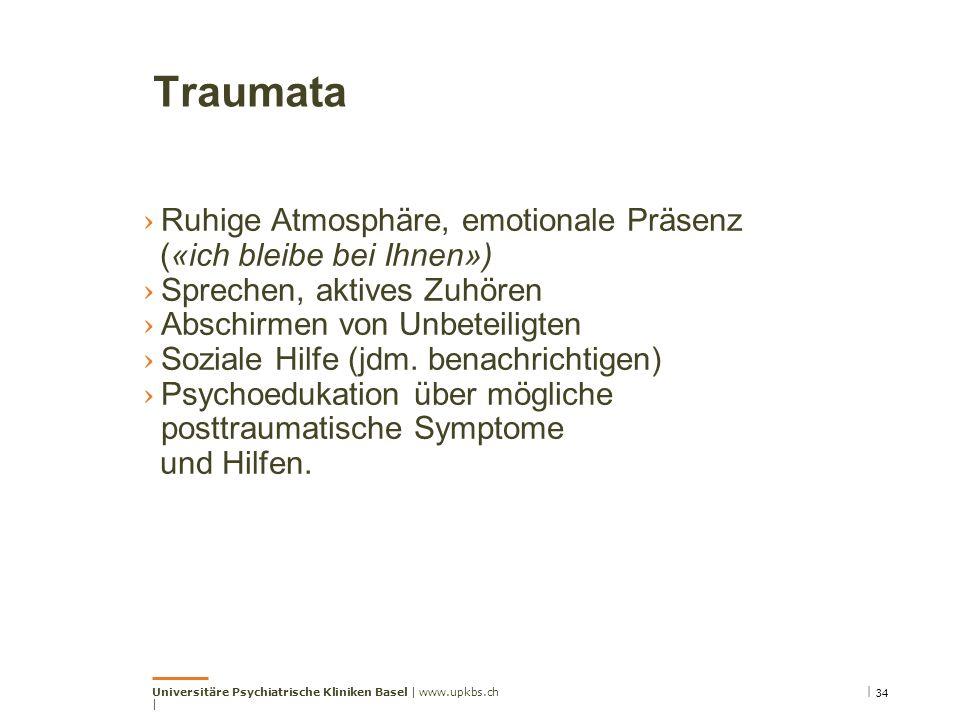 Traumata › Ruhige Atmosphäre, emotionale Präsenz («ich bleibe bei Ihnen») › Sprechen, aktives Zuhören › Abschirmen von Unbeteiligten › Soziale Hilfe (