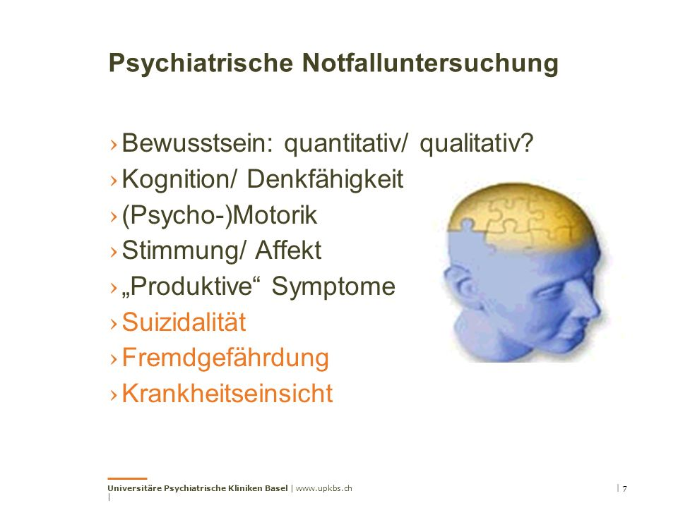 Psychiatrische Notfalluntersuchung › Bewusstsein: quantitativ/ qualitativ.