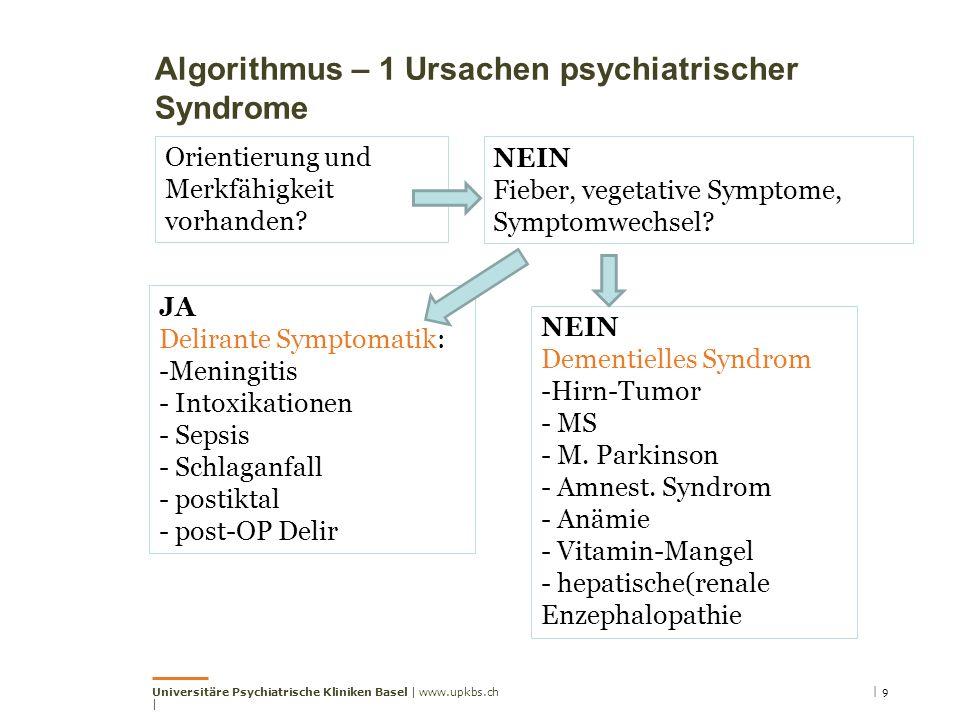 Algorithmus – 1 Ursachen psychiatrischer Syndrome Universitäre Psychiatrische Kliniken Basel | www.upkbs.ch | | 9 Orientierung und Merkfähigkeit vorhanden.