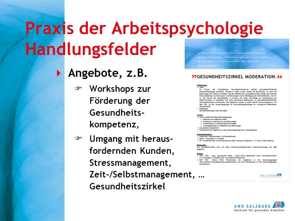 Praxis der Arbeitspsychologie Handlungsfelder  Angebote, z.B.  Workshops zur Förderung der Gesundheits- kompetenz,  Umgang mit heraus- fordernden K