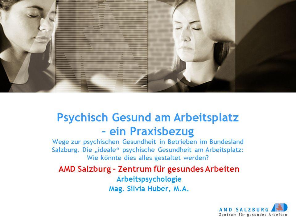 """Psychisch Gesund am Arbeitsplatz – ein Praxisbezug Wege zur psychischen Gesundheit in Betrieben im Bundesland Salzburg. Die """"ideale"""" psychische Gesund"""