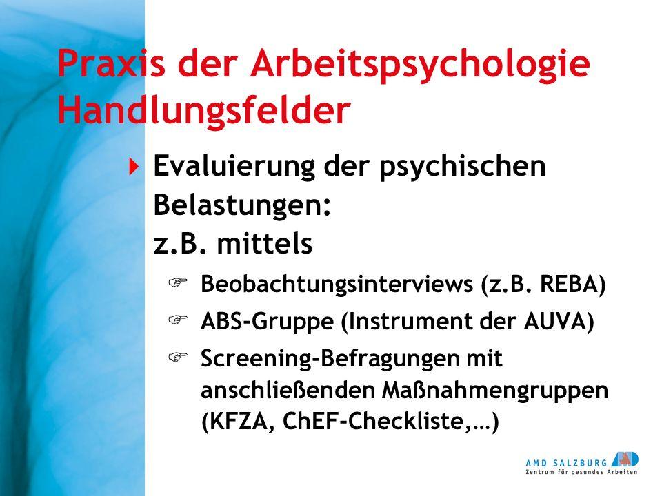 Praxis der Arbeitspsychologie Handlungsfelder  Evaluierung der psychischen Belastungen: z.B. mittels  Beobachtungsinterviews (z.B. REBA)  ABS-Grupp