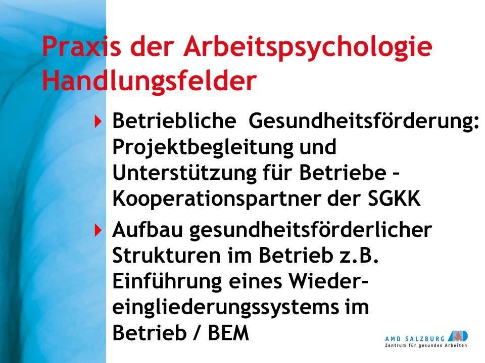Praxis der Arbeitspsychologie Handlungsfelder  Betriebliche Gesundheitsförderung: Projektbegleitung und Unterstützung für Betriebe – Kooperationspart