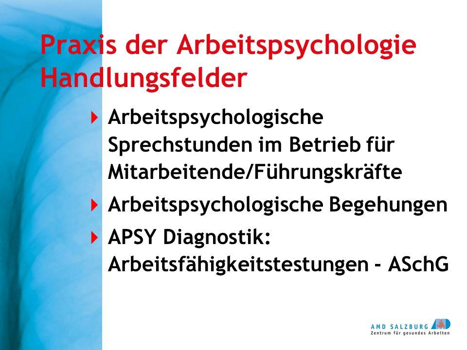 Praxis der Arbeitspsychologie Handlungsfelder  Arbeitspsychologische Sprechstunden im Betrieb für Mitarbeitende/Führungskräfte  Arbeitspsychologische Begehungen  APSY Diagnostik: Arbeitsfähigkeitstestungen - ASchG
