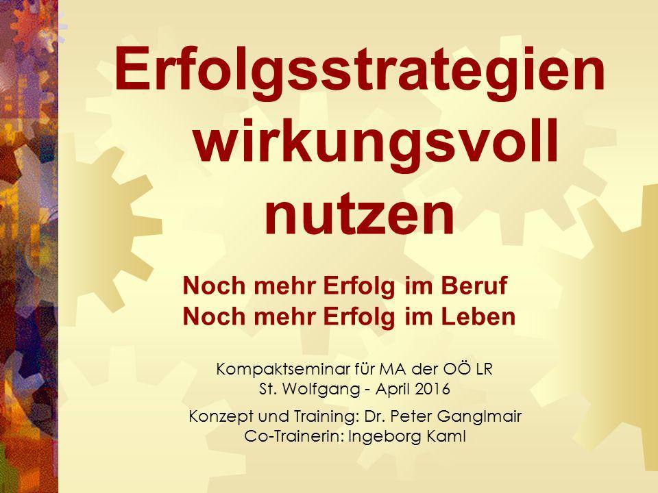 Erfolgsstrategien wirkungsvoll nutzen Noch mehr Erfolg im Beruf Noch mehr Erfolg im Leben Kompaktseminar für MA der OÖ LR St.