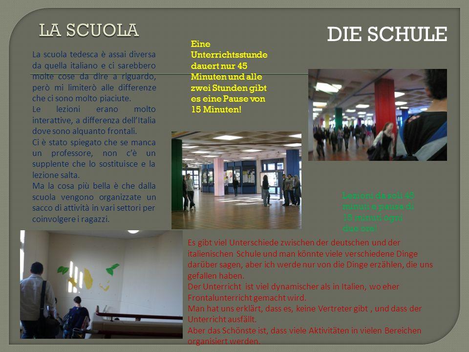 La scuola tedesca è assai diversa da quella italiano e ci sarebbero molte cose da dire a riguardo, però mi limiterò alle differenze che ci sono molto piaciute.