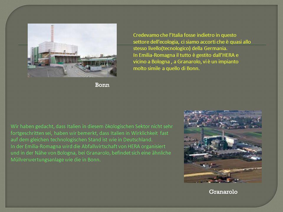 Credevamo che l'Italia fosse indietro in questo settore dell'ecologia, ci siamo accorti che è quasi allo stesso livello(tecnologico) della Germania.
