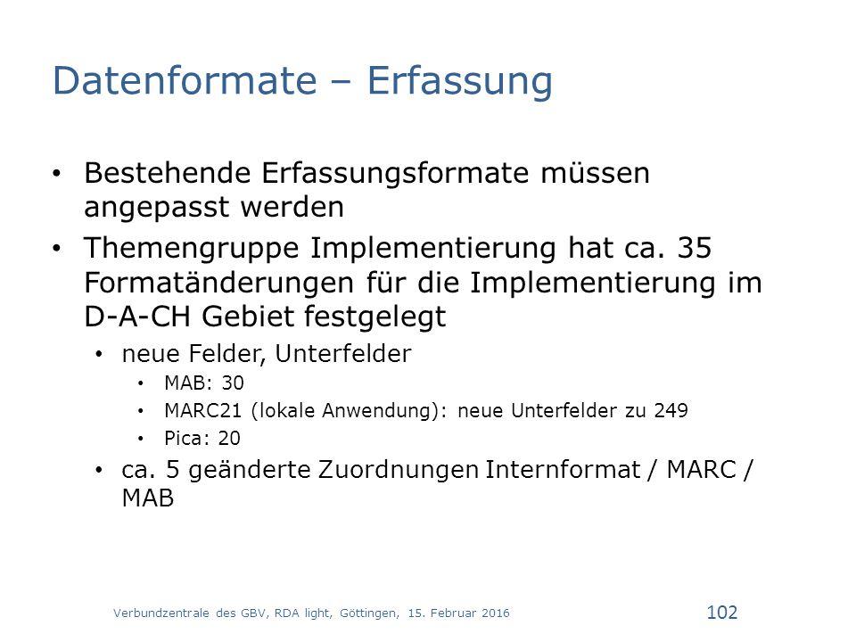 Datenformate – Erfassung Bestehende Erfassungsformate müssen angepasst werden Themengruppe Implementierung hat ca.