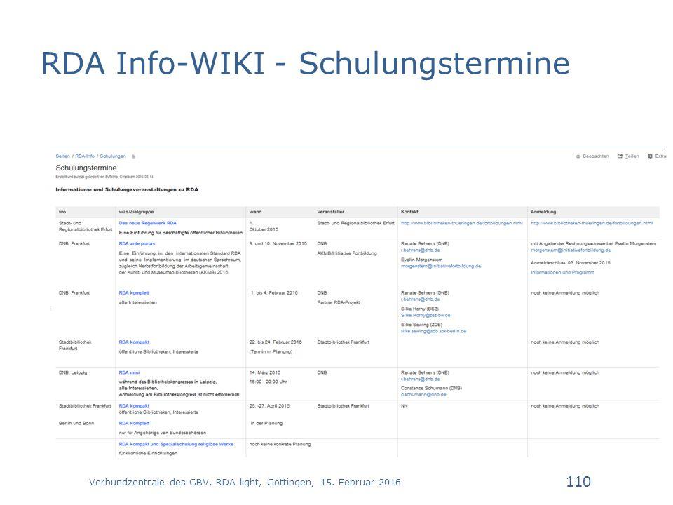 RDA Info-WIKI - Schulungstermine Verbundzentrale des GBV, RDA light, Göttingen, 15.