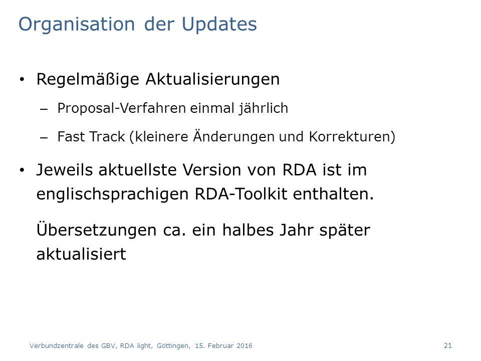 Organisation der Updates Regelmäßige Aktualisierungen – Proposal-Verfahren einmal jährlich – Fast Track (kleinere Änderungen und Korrekturen) Jeweils aktuellste Version von RDA ist im englischsprachigen RDA-Toolkit enthalten.