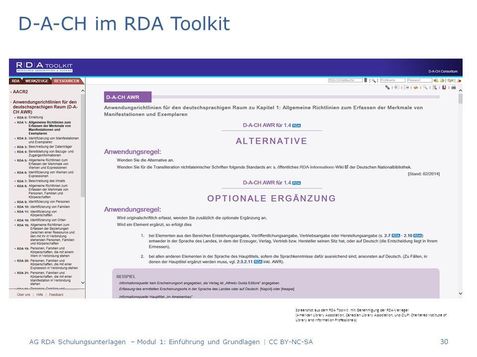 D-A-CH im RDA Toolkit AG RDA Schulungsunterlagen – Modul 1: Einführung und Grundlagen | CC BY-NC-SA 30 Screenshot aus dem RDA Toolkit mit Genehmigung der RDA-Verleger (American Library Association, Canadian Library Association, und CILIP: Chartered Institute of Library and Information Professionals)