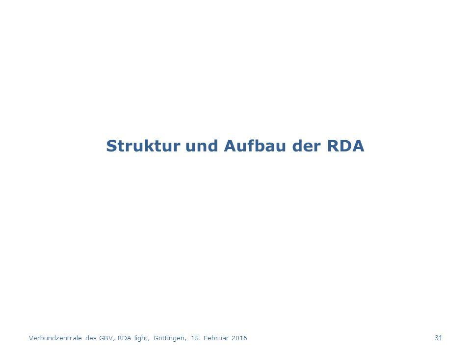 Struktur und Aufbau der RDA Verbundzentrale des GBV, RDA light, Göttingen, 15. Februar 2016 31