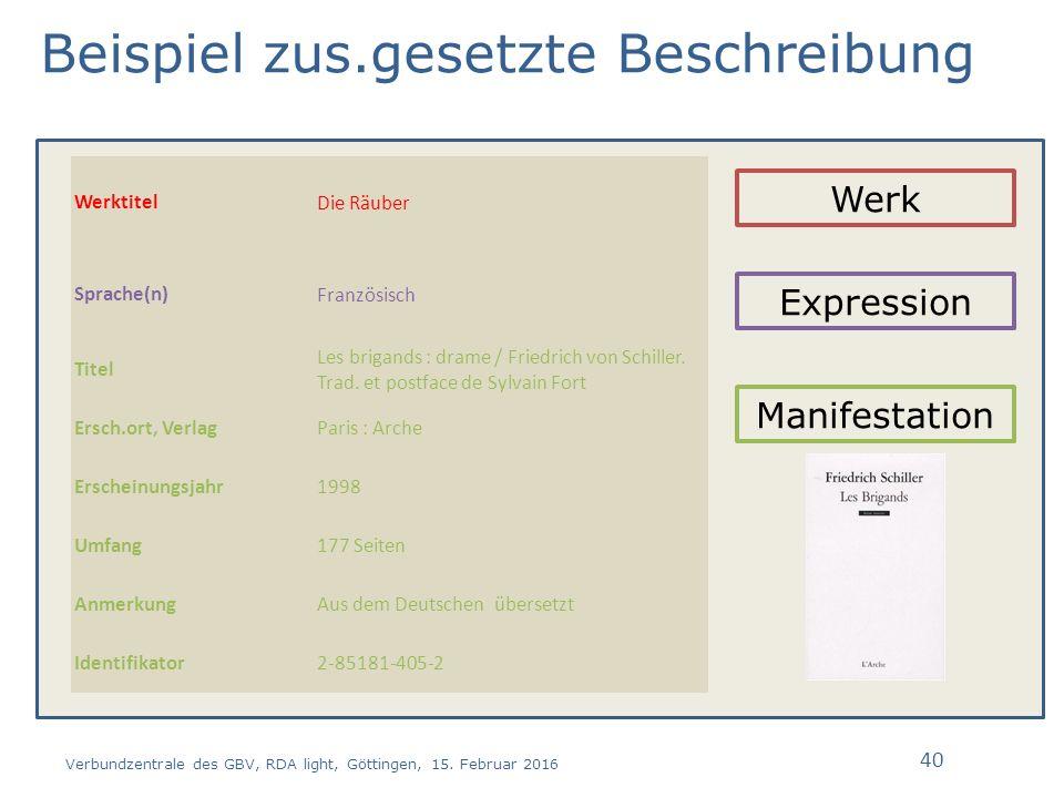 Beispiel zus.gesetzte Beschreibung Verbundzentrale des GBV, RDA light, Göttingen, 15.