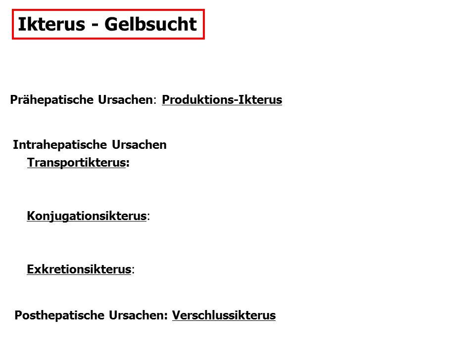 Ikterus - Gelbsucht Prähepatische Ursachen: Produktions-Ikterus Intrahepatische Ursachen Transportikterus: Konjugationsikterus: Exkretionsikterus: Posthepatische Ursachen: Verschlussikterus