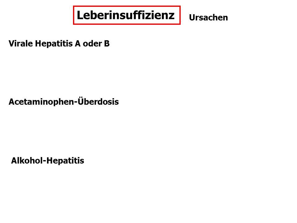 Ursachen Virale Hepatitis A oder B Alkohol-Hepatitis Acetaminophen-Überdosis