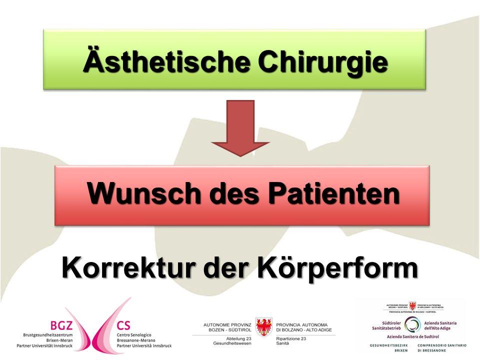 Wunsch des Patienten Wunsch des Patienten Korrektur der Körperform Ästhetische Chirurgie