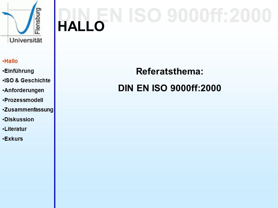 DIN EN ISO 9000ff:2000 Hallo Einführung ISO & Geschichte Anforderungen Prozessmodell Zusammenfassung Diskussion Literatur Exkurs HALLO Referatsthema: DIN EN ISO 9000ff:2000