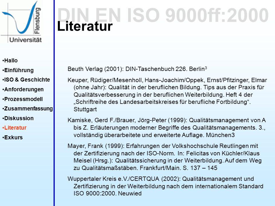 DIN EN ISO 9000ff:2000 Hallo Einführung ISO & Geschichte Anforderungen Prozessmodell Zusammenfassung Diskussion Literatur Exkurs Literatur Beuth Verlag (2001): DIN-Taschenbuch 226.