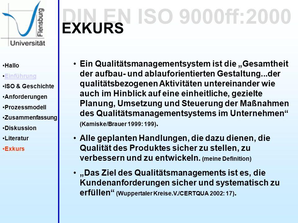 """DIN EN ISO 9000ff:2000 Hallo Einführung ISO & Geschichte Anforderungen Prozessmodell Zusammenfassung Diskussion Literatur Exkurs EXKURS Ein Qualitätsmanagementsystem ist die """"Gesamtheit der aufbau- und ablauforientierten Gestaltung...der qualitätsbezogenen Aktivitäten untereinander wie auch im Hinblick auf eine einheitliche, gezielte Planung, Umsetzung und Steuerung der Maßnahmen des Qualitätsmanagementsystems im Unternehmen (Kamiske/Brauer 1999: 199)."""