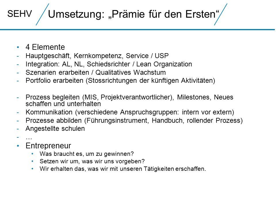 SEHV 4 Elemente - Hauptgeschäft, Kernkompetenz, Service / USP - Integration: AL, NL, Schiedsrichter / Lean Organization - Szenarien erarbeiten / Quali