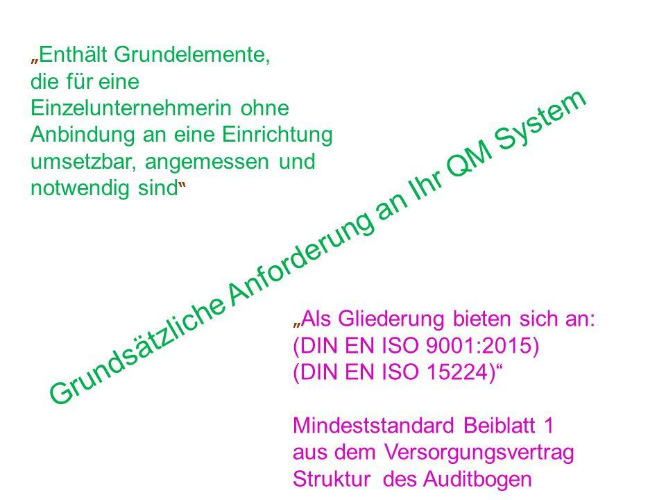 """Grundsätzliche Anforderung an Ihr QM System """" Enthält Grundelemente, die für eine Einzelunternehmerin ohne Anbindung an eine Einrichtung umsetzbar, angemessen und notwendig sind """" Als Gliederung bieten sich an: (DIN EN ISO 9001:2015) (DIN EN ISO 15224) Mindeststandard Beiblatt 1 aus dem Versorgungsvertrag Struktur des Auditbogen"""