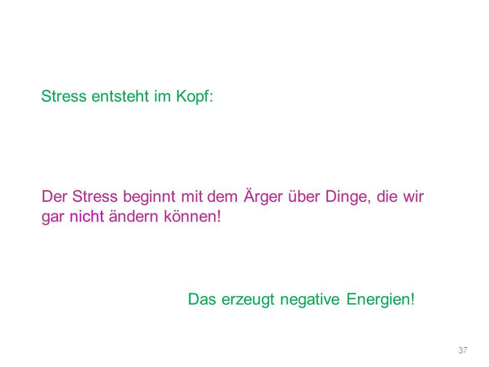 Stress entsteht im Kopf: Der Stress beginnt mit dem Ärger über Dinge, die wir gar nicht ändern können.