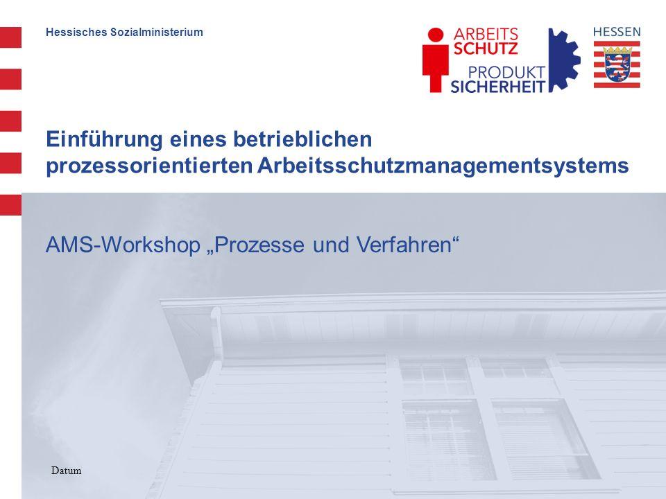 Hessisches Sozialministerium Einführung eines betrieblichen prozessorientierten Arbeitsschutzmanagementsystems 12 Juni 2007 Prozesse im AMS dokumentieren – Beispiele Ablaufdiagramm mit Angaben zu Prozessschritten, Zuständigkeiten und Dokumenten