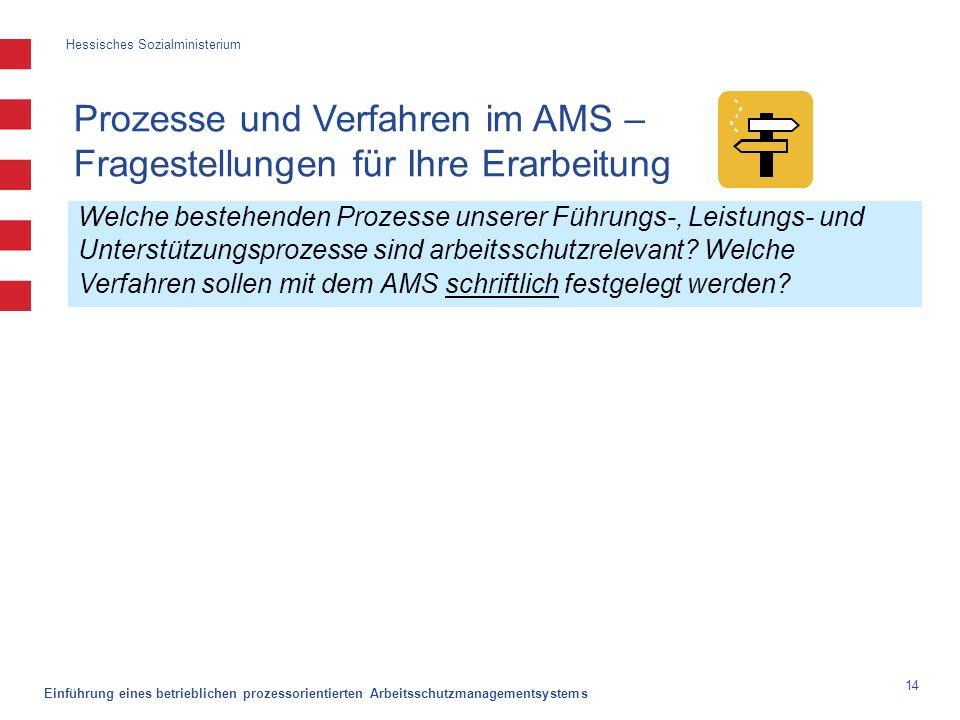 Hessisches Sozialministerium Einführung eines betrieblichen prozessorientierten Arbeitsschutzmanagementsystems 14 Welche bestehenden Prozesse unserer