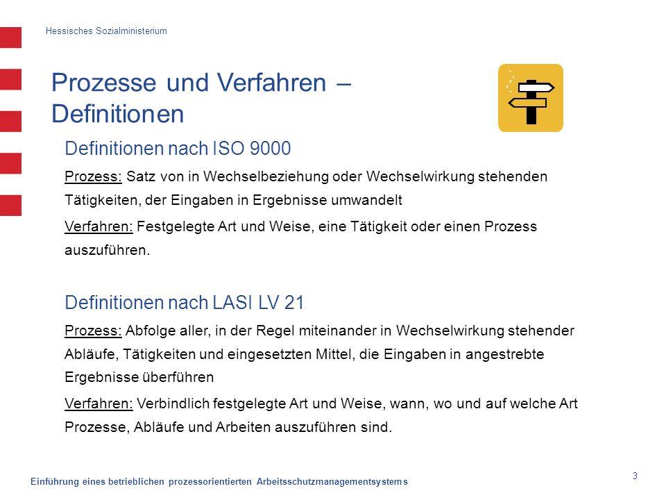 Hessisches Sozialministerium Einführung eines betrieblichen prozessorientierten Arbeitsschutzmanagementsystems 3 Prozesse und Verfahren – Definitionen