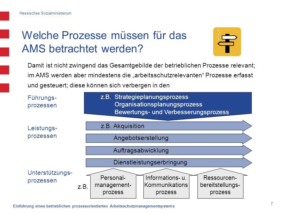 Hessisches Sozialministerium Einführung eines betrieblichen prozessorientierten Arbeitsschutzmanagementsystems 7 Welche Prozesse müssen für das AMS be